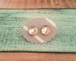 Cabochon-Ohrstecker Paar in Edelstahl mit einem buntem Einhorn, 10mm