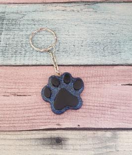 Schlüsselanhänger Pfote in schwarz/blau Glitzer
