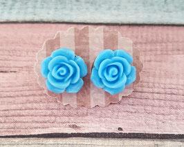 Ohrstecker Paar in Edelstahl mit Blume in blau