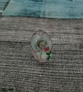 Cabochon-Ring aus Edelstahl, mit einem kleinen süßen Engel, Gr. 20x30 mm