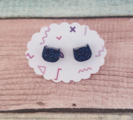 kleine Katzen-Ohrstecker in Glitzer-blau