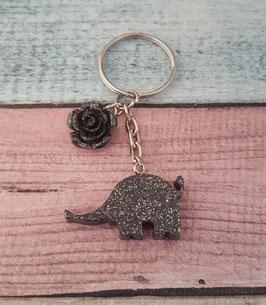 Schlüsselanhänger Elefant in grau-Glitzer mit Blume