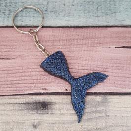 Schlüsselanhänger Fischflosse in blau Glitzer
