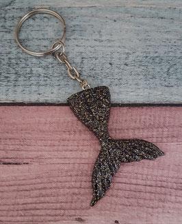 Schlüsselanhänger Fischflosse in schwarz-gold-silber Glitzer