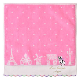 LADUREE Towel Handkerchief  Bon Voyage Pink dog