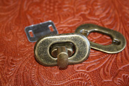 Taschenverschluss - Drehverschluss antikmessing