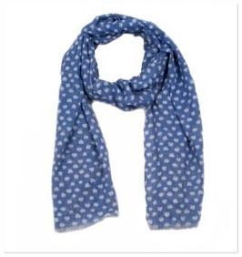 Schal blau mit weißen Punkten