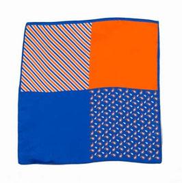 Blaues Einstecktuch mit gespiegeltem Muster