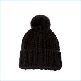Schwarze Strickmütze mit Alpaka Wolle