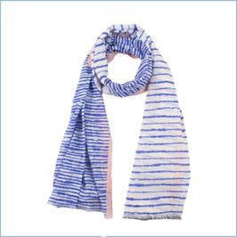 Blau weiß gestreifter Baumwollschal