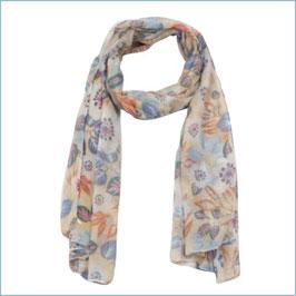 Beiger Schal mit buntem Blumenmuster