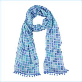 Schal mit blauem Kachelmuster und Bommeln