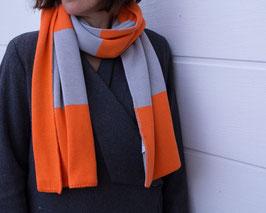 Wendeschal Strick Orange / Grau