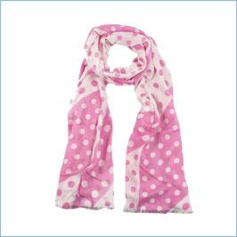 Gepunkteter Schal rosa-weiß