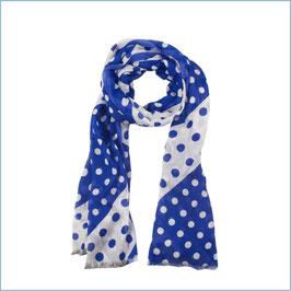 Gepunkteter Schal blau-weiß