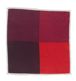 Rotes Einstecktuch mit quadratischem Muster