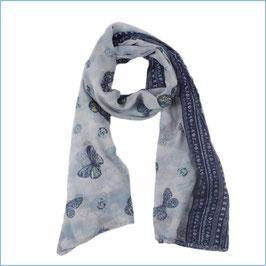Blauer Schal mit Schmetterlingsmotiv