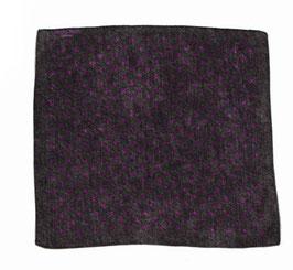 Dunkelgraues Seideneinstecktuch in Jeansoptik mit lilafarbenen Punkten