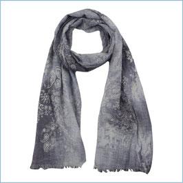Graublauer Baumwollschal mit Paisleymuster