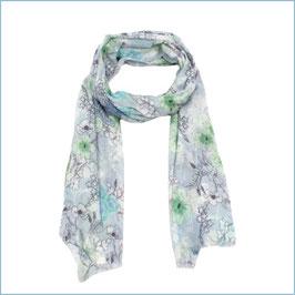 Blauer Schal mit japanischem Blumenmuster