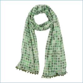Schal mit grünem Kachelmuster und Bommeln