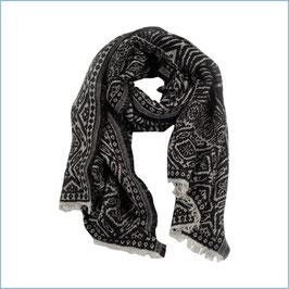 Jacquard Schal schwarz-weiß