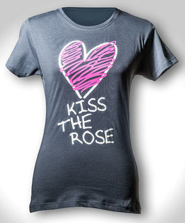 "T-Shirt ""Kiss the Rose"" (Dark Denim) für Damen"