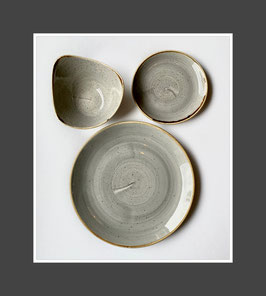 Churchill Stonecast Geschirr Peppercorn Grey mit Autogramm