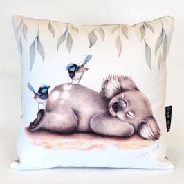 Sleepy Koala with Blue Wrens Cushion