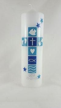 Taufkerze Junge türkis / blau, Taufkerze mit Sternen