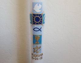 moderne Kommunionskerze blau, gold