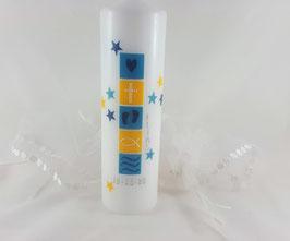 Taufkerze blau gelb, für Jungs und Mädchen