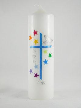 Taufkerze Sterne Regenbogen, Taufkerze für Jungs und Mädchen