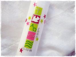 Taufkerze Mädchen pink/grün