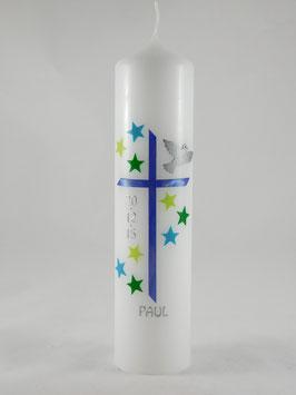 Taufkerze Sterne blau / grün