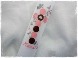 Taufkerze Punkte rosa / braun