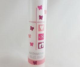 Taufkerze rosa / pink mit Schmetterlingen