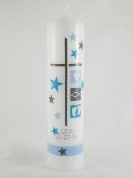 Taufkerze Sterne hellblau / türkis