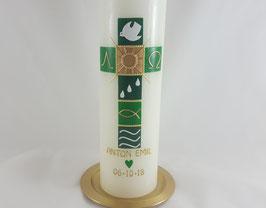 klassische Taufkerze grün / gold, optional mit oder ohne Kerzenteller