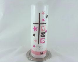 Taufkerze rosa / pink / braun