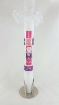 Kommunionskerze pink / lila