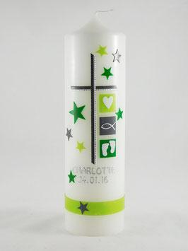 Taufkerze grün mit Sternen