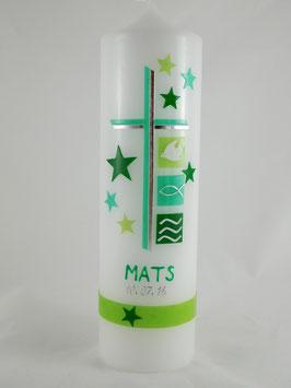 Taufkerze Junge  grün / mint