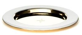 Kerzenteller weiß -und goldfarben  für Stumpenkerzen bis 8cm Durchmesser