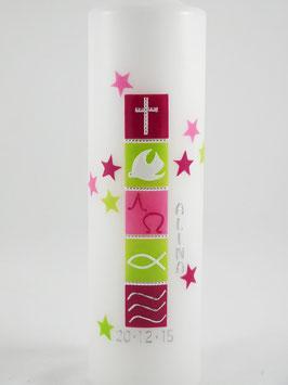 Taufkerze für Mädchen, Sterne rot / grün