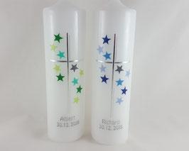 Taufkerzen mit Sternen