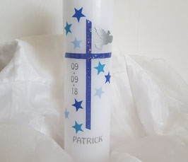 Taufkerze Sterne Junge blau