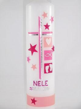 Taufkerze rosa/pink mit Sternen