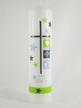 Taufkerze hellblau / grün mit Sternen