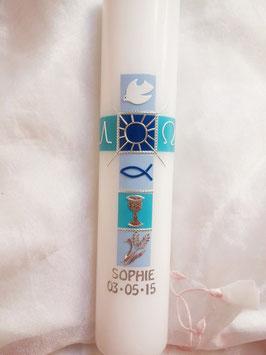 Kommunionskerze Kreuz blau